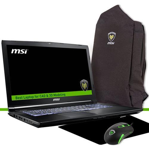 Station de travail MSI WE62 7RJ-1837CA 15.6in FHD I5-7300HQ Quadro M2200 4GB 256 Go Ensemble de portable Win10 Pro