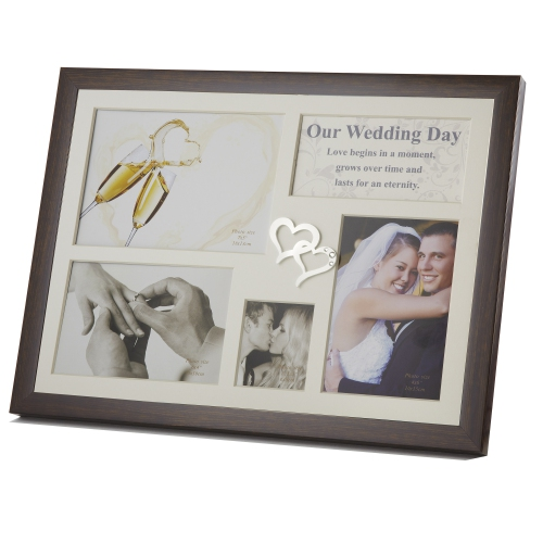 Elegance Wedding Day Collage Photo Frame with Double Heart Icon ...