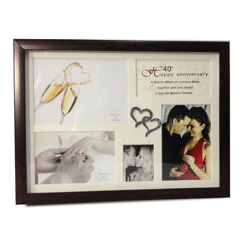 Elegance 40th Anniversary Collage Photo Frame with Double Heart Icon ...
