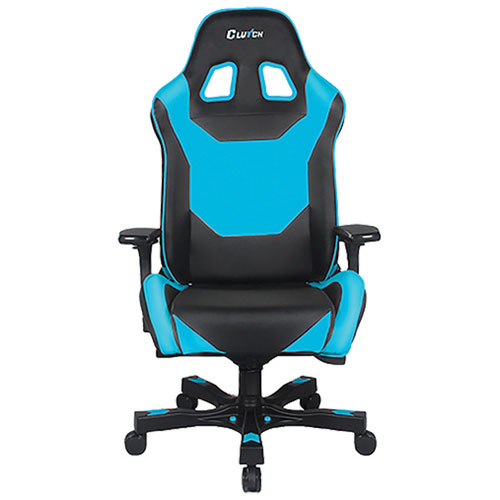 Fauteuil de jeu de course ergonomique en similicuir Throttle Bravo de Clutch Chairz - Noir - Bleu