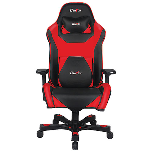 Clutch Chairz Throttle Bravo Ergonomic Faux Leather Racing Gaming Chair - Black/Red