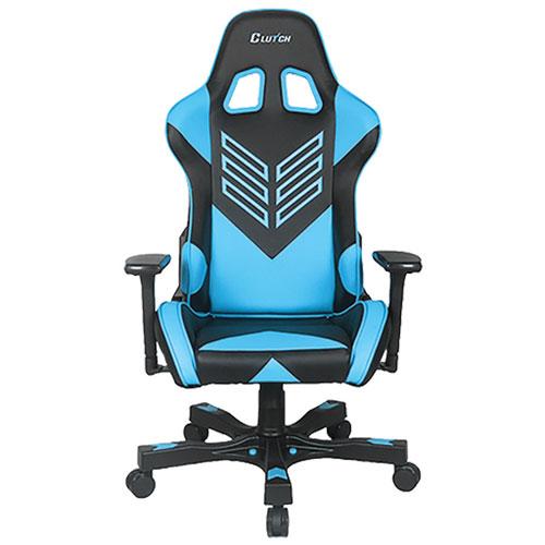 Fauteuil de jeu de course ergonomique en similicuir Crank Onylight de Clutch Chairz - Noir - Bleu