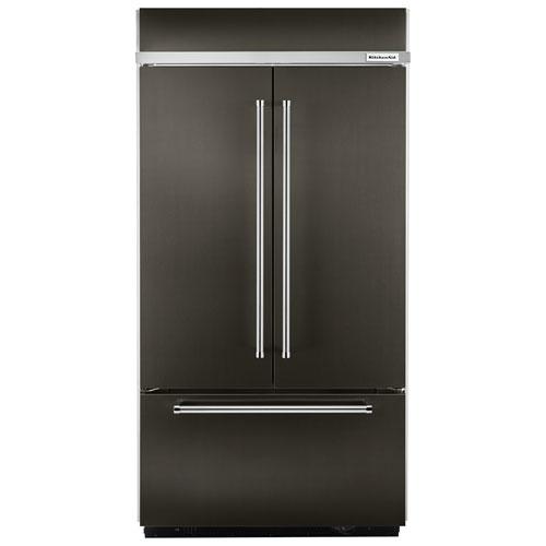 "Kitchenaid Black Stainless Steel French Door Refrigerator: KitchenAid 43"" 24.2 Cu. Ft. Built-in French Door Refrigerator (KBFN502EBS)"