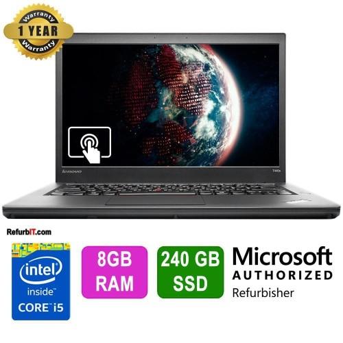 "Lenovo ThinkPad T440s Laptop, 14"" Touch Screen, Intel Core i5, 8GB RAM, 240GB SSD, Windows 10 Pro - Refurbished"