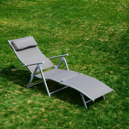 Outsunny Heavy Duty Adjustable Folding Reclining Chair Seat Outdoor Chaise Lounge Beach Camping Grey