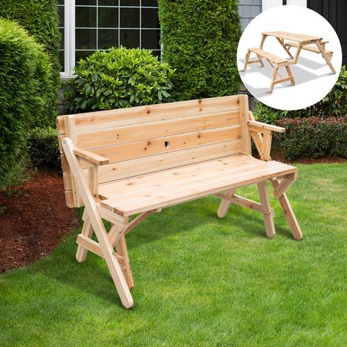 outsunny 2 in 1 convertible picnic table u0026 garden bench foldable fir wood garden bench