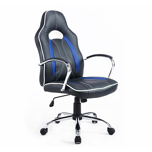 HOMCOM High Back Executive Racing Office Chair Faux Leather Swivel Computer Desk Seat, Black and Blue