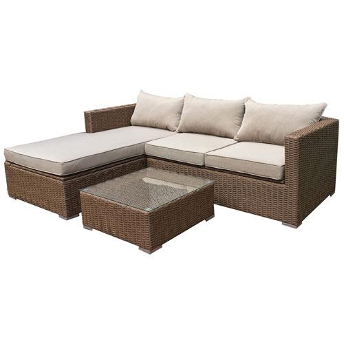 Emmett Contemporary 4 Piece Deep Seating Patio Lounge Set   Dark Brown/Beige