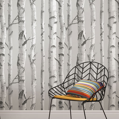 NuWallpaper Mountain Birch Grey Peel And Stick Wallpaper