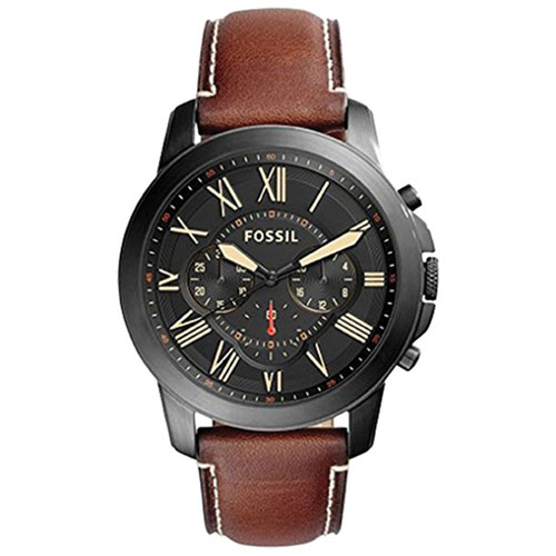 742b1671cee Fossil Grant 44mm Men s Analog Fashion Watch with Chronograph   Leather  Strap - Brown Black - Online Only