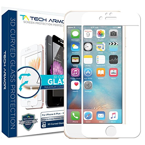 iPhone 6 Plus Screen Protector, Tech Armor 3D Curved Edge Glass Apple iPhone 6S / iPhone 6 Plus (5.5-inch) Screen Protector (W