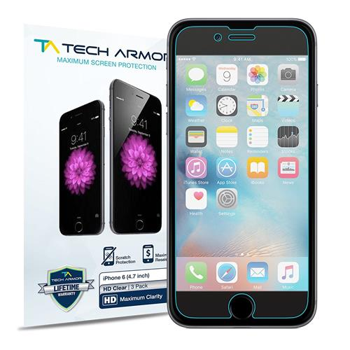 """Tech Armor iPhone 6 & iPhone 6S (4.7"""") Screen Protector High Def (HD) Clear Screen Protectors - Max Clarity - [3-Pack] Lifetim"""