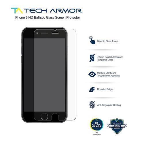 iPhone 6 Glass Screen Protector, Tech Armor Premium Ballistic Glass Apple iPhone 6S / iPhone 6 (4.7-inch) Screen Protectors [2