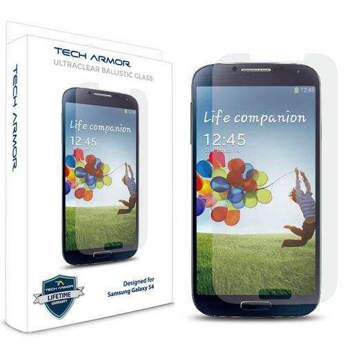Tech Armor Samsung Galaxy S4 SIV Premium Ballistic Glass Screen Protector - World's Clearest Screen Protector - Retail Packag