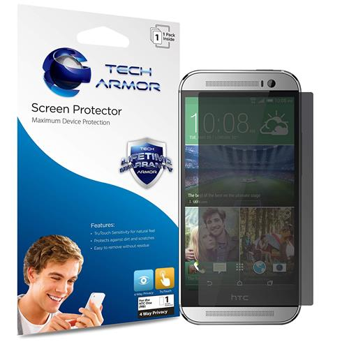 One (M8) Privacy Screen Protector, Tech Armor 4Way 360 Degree Privacy HTC One (M8) Film Screen Protector [1-Pack]