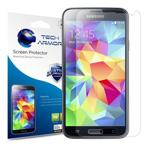 Tech Armor Samsung Galaxy S5 High Defintion (HD) Clear Screen Protectors -- Maximum Clarity and Touchscreen Accuracy [3-Pack]