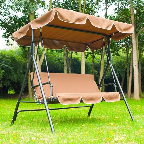 Outsunny Metal 3 Seater Outdoor Swing Chair Lounger With Frame And Canopy  Garden Hammock (Brown