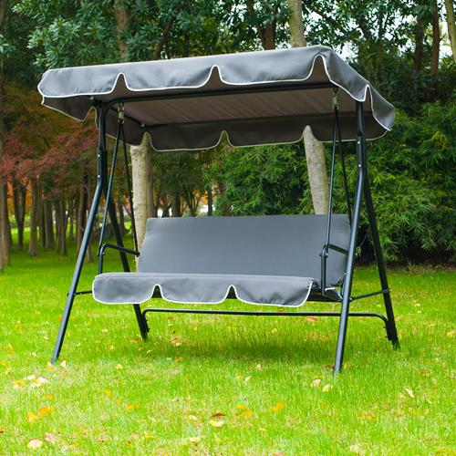 Outsunny Metal 3 Seater Outdoor Swing Chair Lounger with Frame and Canopy Garden Hammock (Grey) - Online Only & Outsunny Metal 3 Seater Outdoor Swing Chair Lounger with Frame and ...