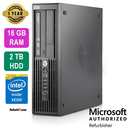 HP Z220 Workstation Desktop, Intel Xeon, 16GB RAM, 2TB HDD, DVD-RW, Nvidia NVS 310 Graphics, Windows 10 Pro - Refurbished