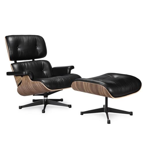 Eames Lounge Chair and Ottoman Black 100% Italian Genuine Full Grain Leather with Walnut Wood Finish