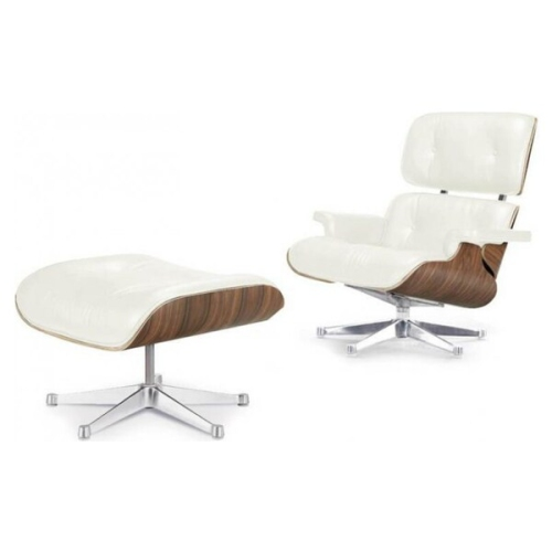 Eames Lounge Chair and Ottoman White 100% Italian Genuine Full Grain Leather with white Oak Wood Finish