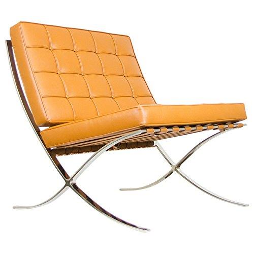 Barcelona Style Modern Pavilion Chair Couch Sofa - High Quality Leather with Stainless Steel Frame - Cigar Brown
