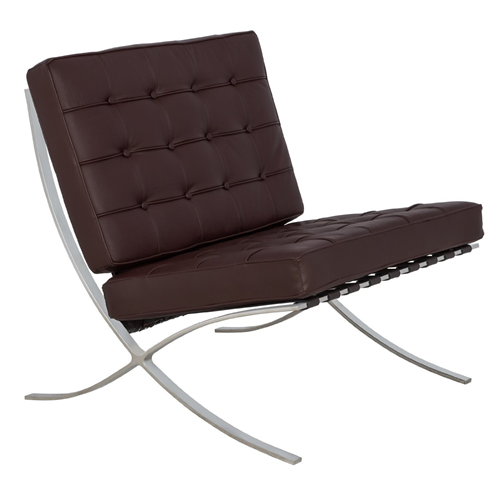 Replica Barcelona Italian Leather Accent Chair - Black, White, Brown, Red