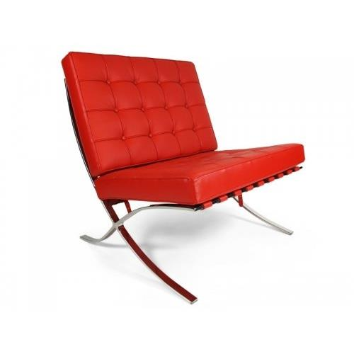 Barcelona Style Modern Pavilion Chair Couch Sofa - High Quality Leather with Stainless Steel Frame - Red
