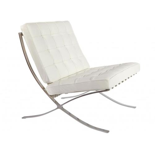Barcelona Style Modern Pavilion Chair Couch Sofa - High Quality Leather with Stainless Steel Frame - White