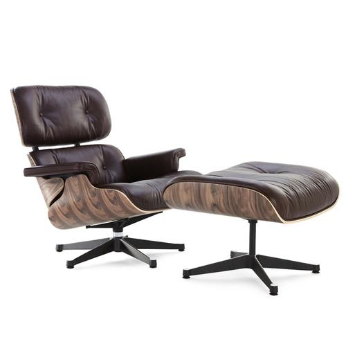 Eames Lounge Chair and Ottoman 100% Dark brown Italian Genuine Leather