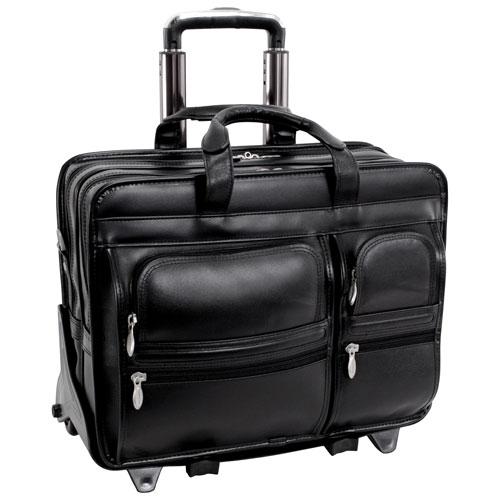 "McKlein Clinton Leather 17"" 2-Wheeled Laptop Briefcase - Black"