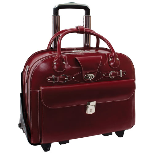 "McKlein Roseville Leather 15.4"" 2-Wheeled Laptop Briefcase - Red"