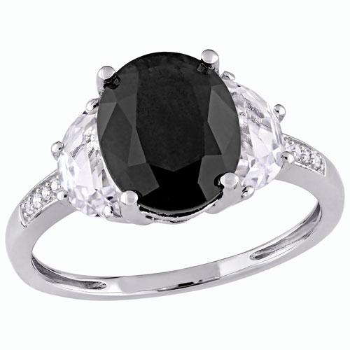 Bague classique halo en argent sterling à saphir noir ovale et diamants blancs 0,024 ct - Taille 6