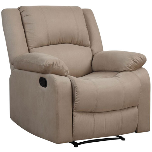 Fauteuil inclinable traditionnel en microsuède Warren - Beige