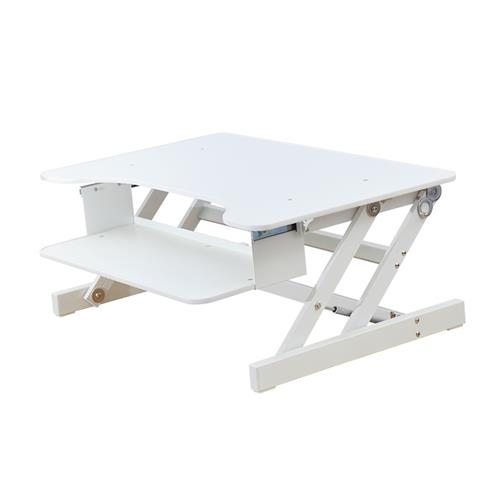 "Rocelco 32"" Sit To Stand Adjustable Height Desk Riser, Standing Desk, DUAL Monitor Capable, 50lbs weight capacity (WHITE)"
