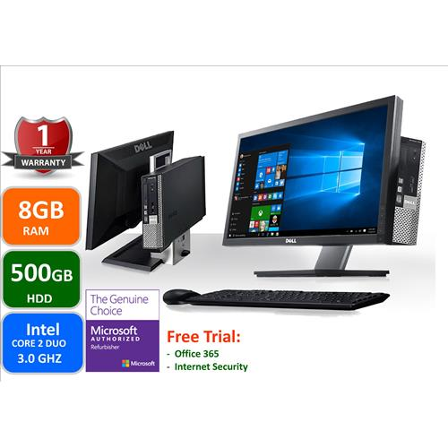 """Dell Optiplex 960 AIO, Intel Core 2 Duo 3.0 Ghz, 8GB memory, 500GB Hard Drive, Windows 10 Home , With 19"""" LCD,1 YW-Refurbished"""