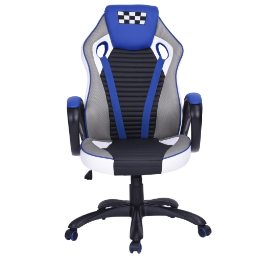 Em Racing Chair Executive Swivel Leather Office/Gaming Task Chair, Blue