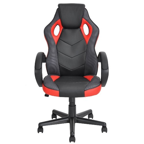 Linton Gaming ergonomique Executive Swivel Leather Soutien haut de gamme Racing Style Task Gaming Chair - Rouge