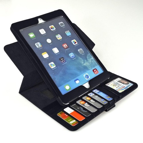 Navor Leather Wallet Case with Multiple Functions For Apple iPad Air (iPad 5) - Black