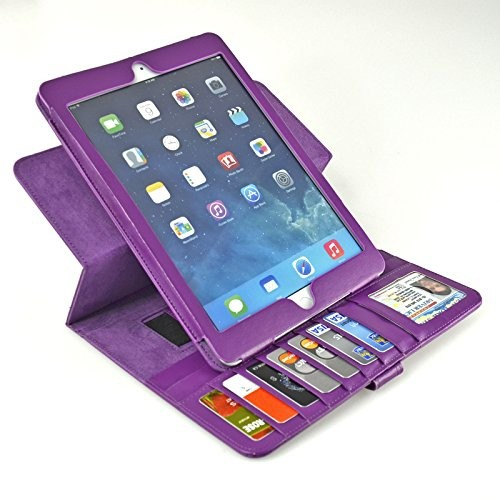 Navor Leather Wallet Case with Multiple Functions For Apple iPad Air (iPad 5) - Purple