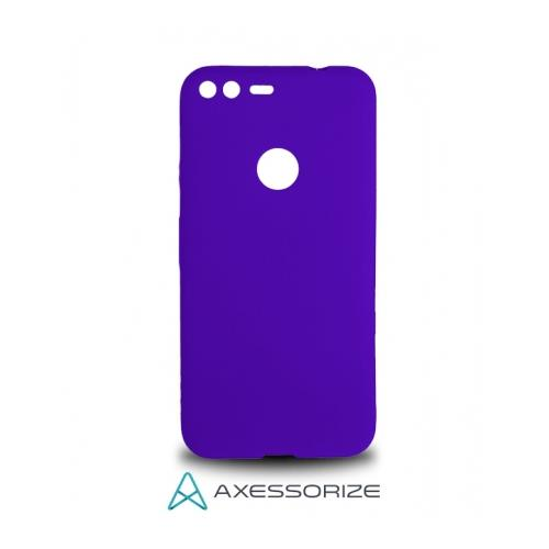COMBO Axessorize Google Pixel XL Case Purple + Tempered Glass