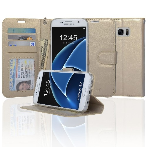 Navor Protective Flip Wallet Case for Samsung Galaxy S7 - Gold
