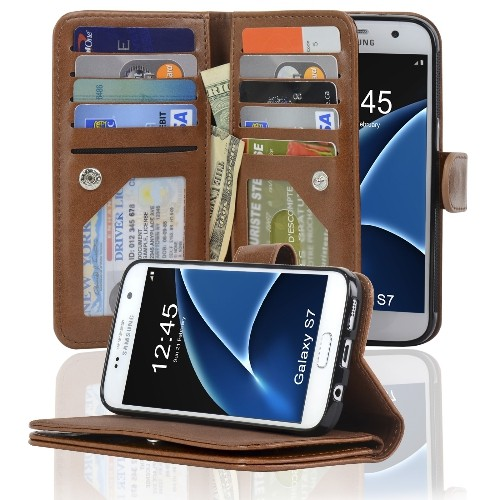 Navor JOOT3 Series Samsung Galaxy S7 Wallet Case with Detachable Magnetic Cover - Brown