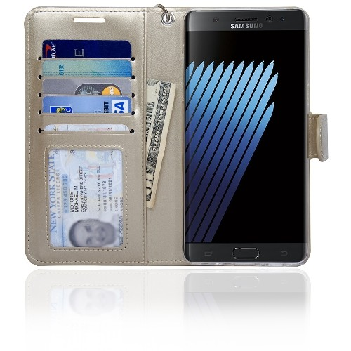 Navor Protective Flip Wallet Case for Samsung Galaxy Note 7 - Gold