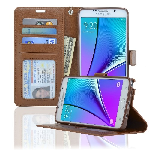 Navor Samsung Galaxy Note 5 Wallet Case Card Slots, Money Pocket - Brown