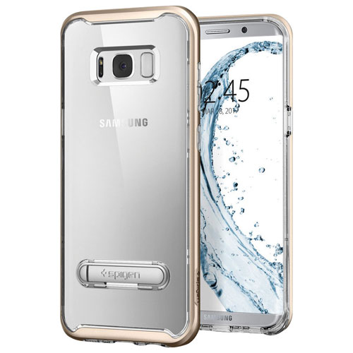 Spigen Crystal Hybrid Fitted Hard Shell Case for Samsung Galaxy S8 - Clear/Gold Maple