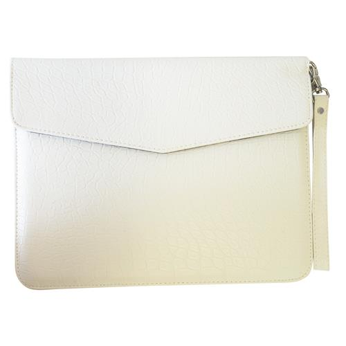 "Exian Universal Tablet PU Crocodile Skin Leather Sleeve with Hand Strap 25cm(10"") x 20cm(8"") White"