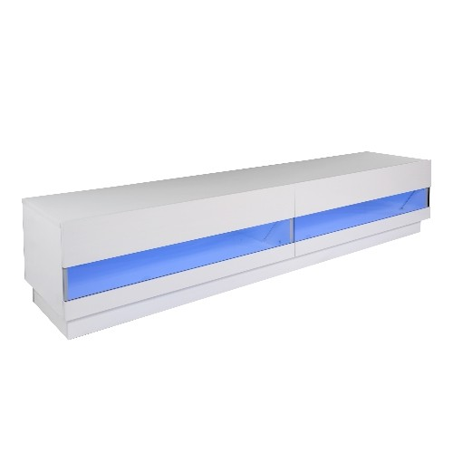 HOMCOM 71inch High Gloss LED TV Cabinet Stand White