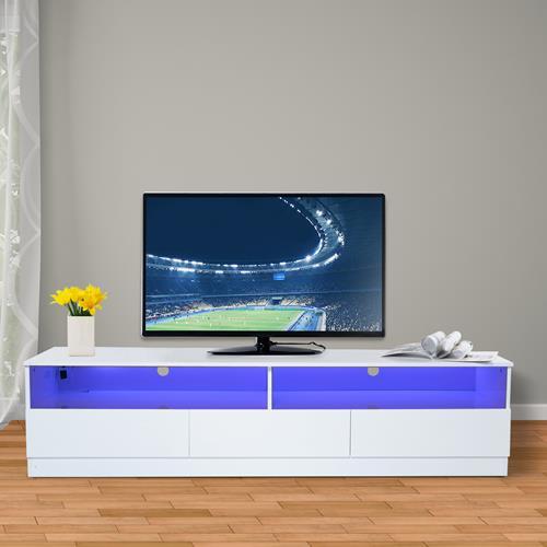 Homcom 71inch High Gloss Led Tv Cabinet Stand 3 Drawers White Tv