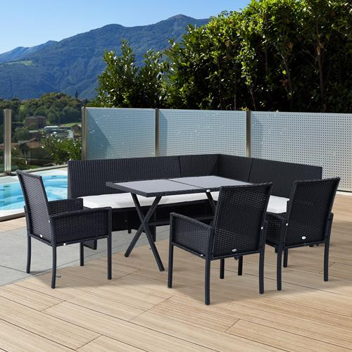 Outsunny 7pcs Outdoor Rattan Wicker Sofa Garden Sectional Couch Patio  Furniture Set Chairs And Dining Table With Cushion : Patio Sets   Best Buy  Canada Part 36